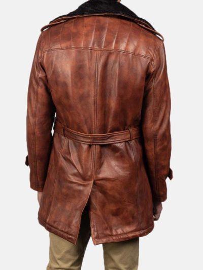 Men's Distressed Brown Shearling Coat