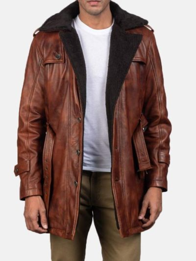 Men's Distressed Brown Shearling Leather Coat