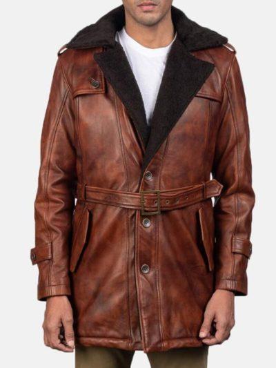 Men's Distressed Shearling Coat