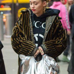 Miley Cyrus Faux Fur Coat