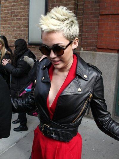 Miley Cyrus Leather Black Jacket