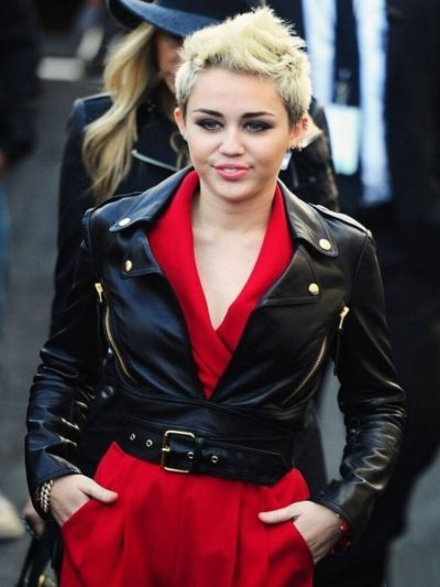 Miley Cyrus Motorcycle Leather Black Jacket