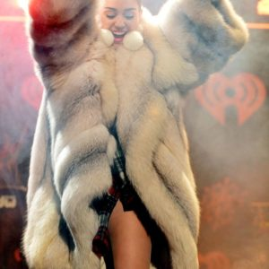 Miley Cyrus White Fur Jacket