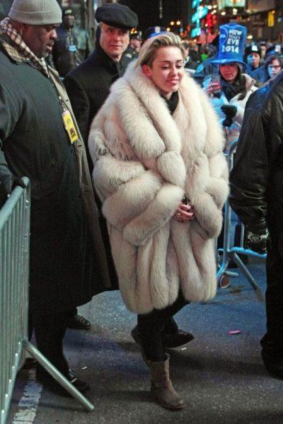Miley Cyrus White Fur Jackets