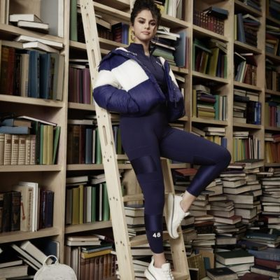 Selena Gomez Blue Puffer Jacket
