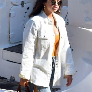 Selena Gomez White Cotton Jacket