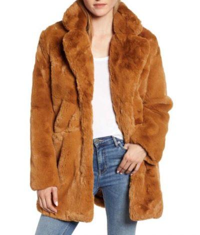 THE EQUALIZER Liza Lapira Fur Brown Coats