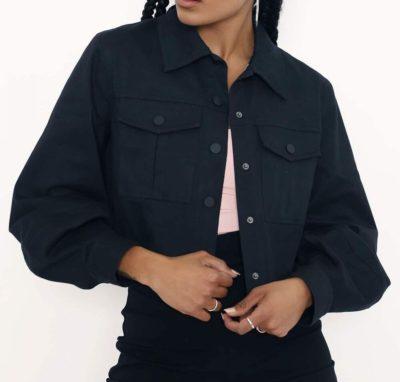 Women Denim Black Crop Jacket