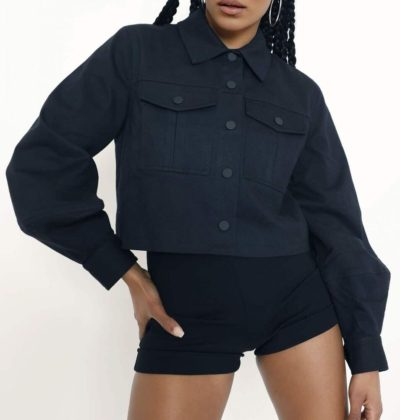 Women Denim Black Jacket