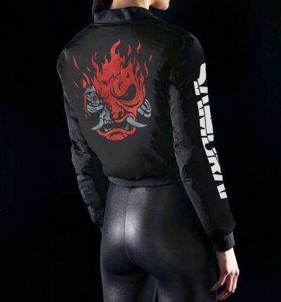 Women Samurai Crop Bomber Jacket