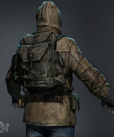 rookie stalker video game s.t.a.l.k.e.r. 2 leather hooded jacket