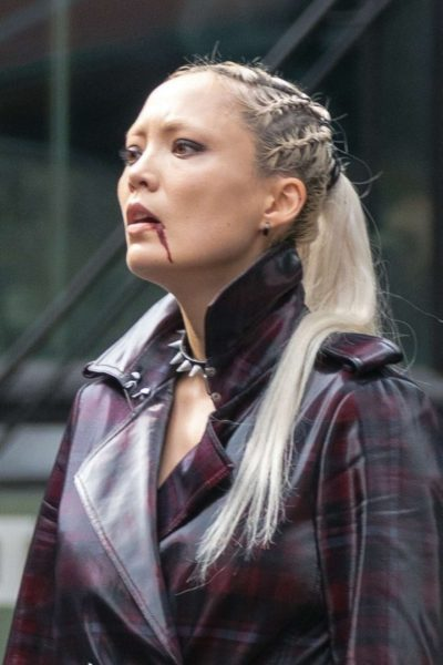 thunder force pom klementieff checked coat
