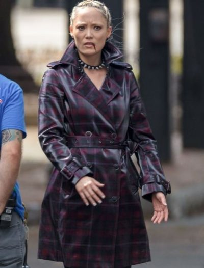 thunder force pom klementieff checked leather coat