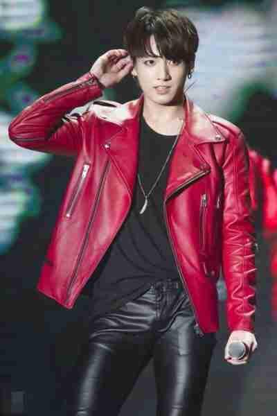 BTS Jungkook Leather Red Jacket