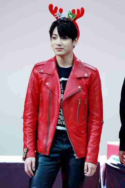 BTS Jungkook Red Leather Jacket