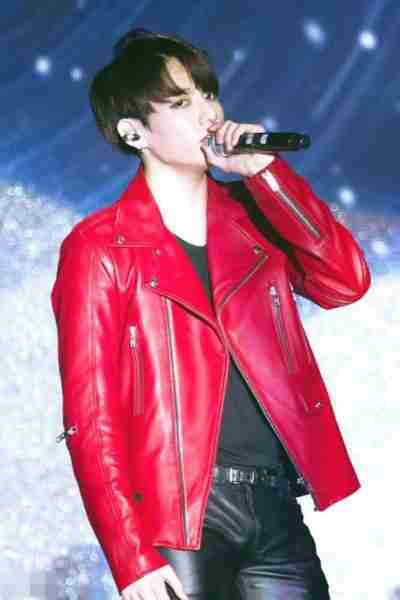 BTS Jungkook Red Leather Jackets