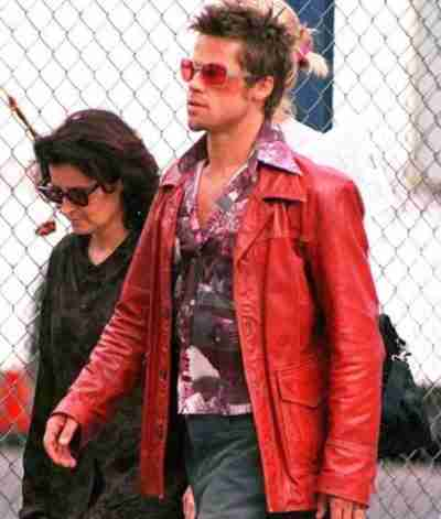 Fight Club Brad Pitt Leather Coat
