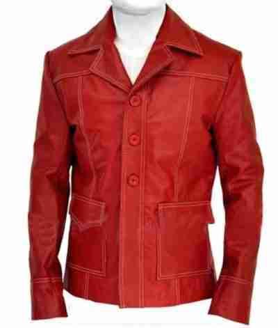Fight Club Brad Pitt Leather Red Coat