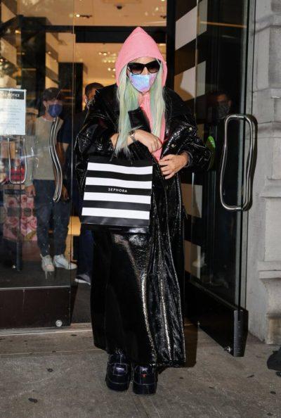 Lady Gaga Black Shiny Coat