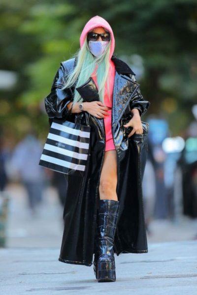 Lady Gaga Black Shiny Long Coat