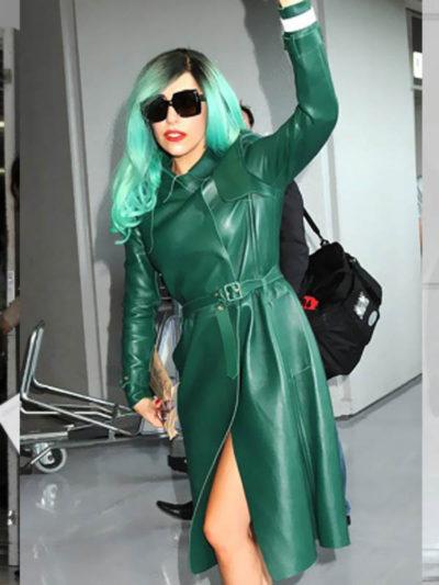 Lady Gaga Fashionable Leather Coat