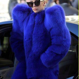 Lady Gaga Faux Fur Blue Coat