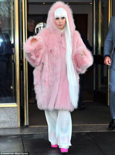 Lady Gaga Faux Fur Long Coat