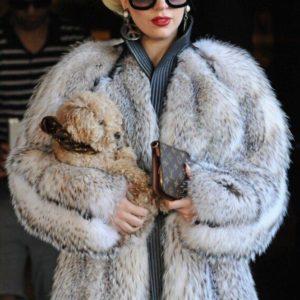 Lady Gaga Faux Fur Trench Coat