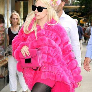 Lady Gaga Hot Pink Fur Coat