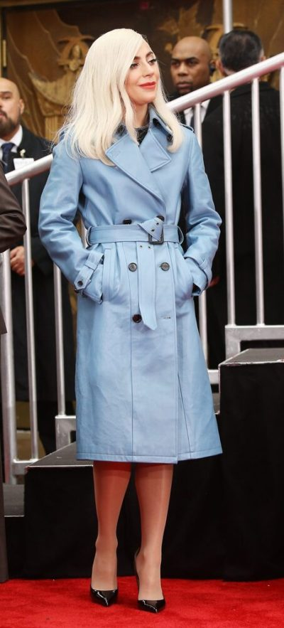 Lady Gaga Leather Trench Coat
