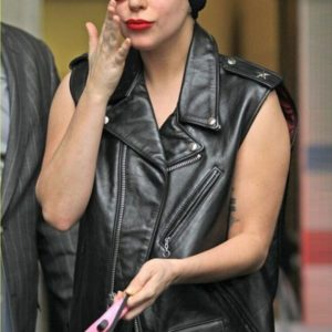 Lady Gaga Singer Black Leather Vest