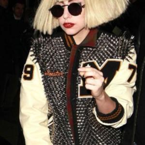Lady Gaga Studded Varsity Jacket