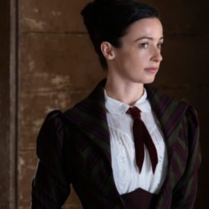 Laura Donnelly in The Nevers Purple Coat