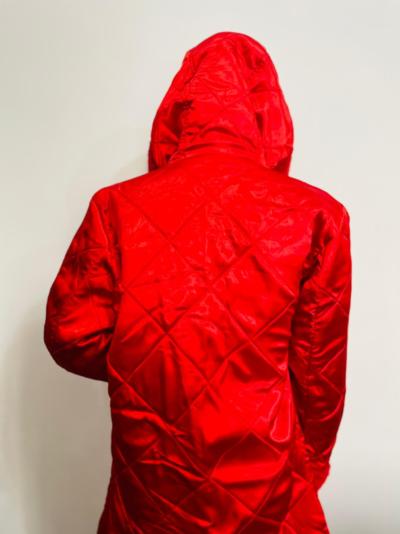 Mariah Carey Fur Red Trench Coat