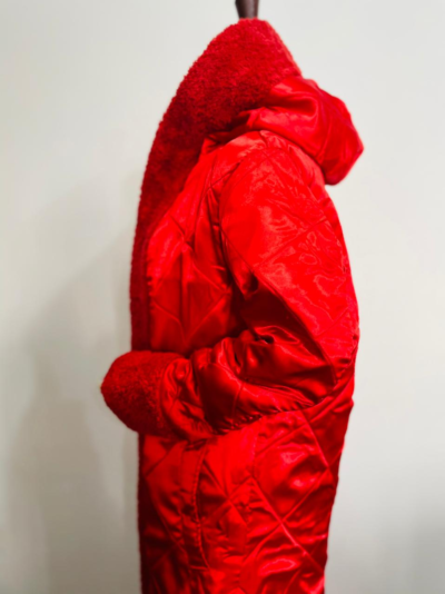 Mariah Carey Fur Trench Red Coat