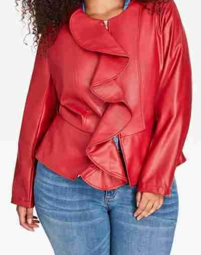 carlotta brown star season 2 queen latifah red ruffle leather jacket