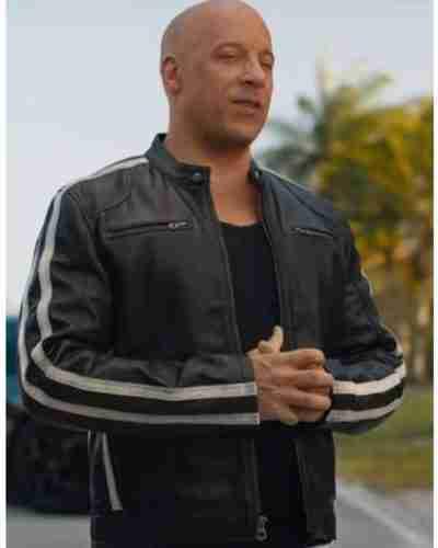 fast & furious 9 vin diesel black stripe leather jacket