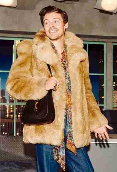 harry styles the beloved show brown fur coat