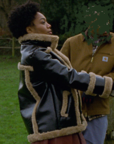 master of none season 3 naomi ackie black shearling leather jacket