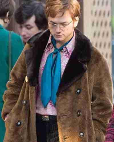 rocketman taron egerton brown shearling coat