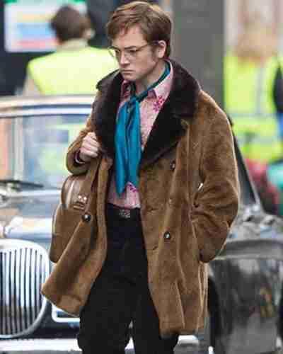 taron egerton rocketman elton john shearling coat