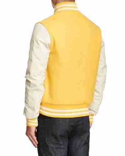 white and yellow varsity jacket