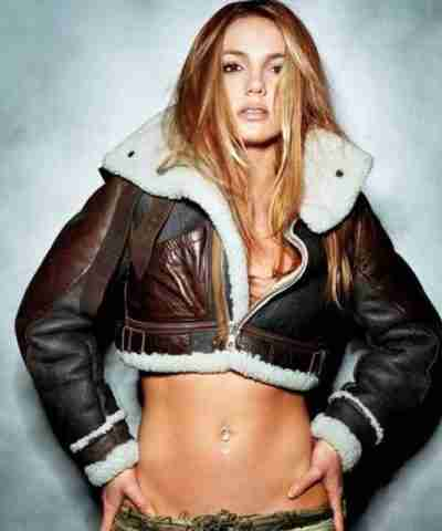 Britney Spears Shearling Brown Leather Jacket