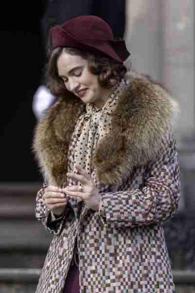 linda radlett the pursuit of love lily james fur collar coat