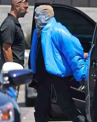 kanye west blue puffer jacket
