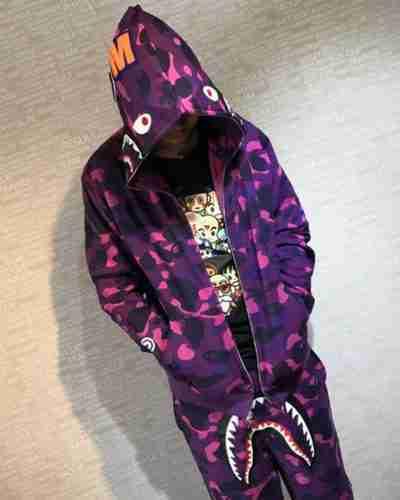 purple camo shark bape hoodie