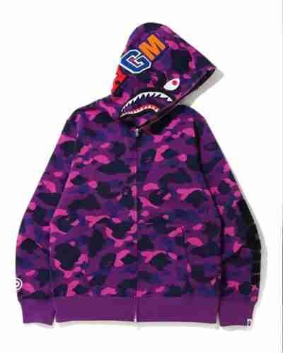 purple camo shark full zip bape hoodie
