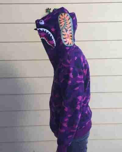 purple camo shark hoodie