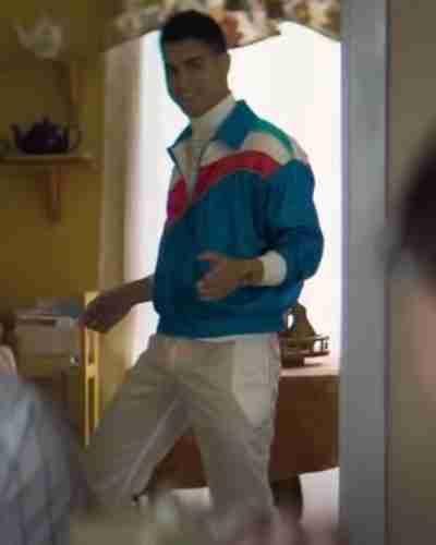stéphane the exchange 2021 avan jogia blue satin jacket for men