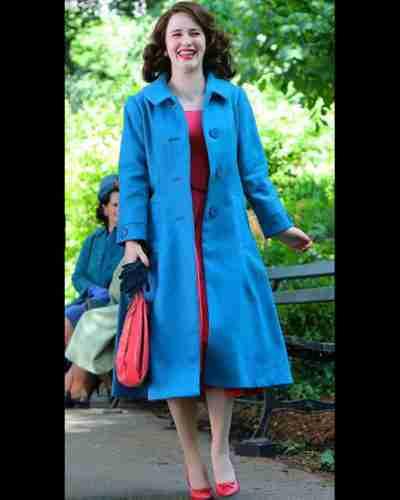 the marvelous mrs. maisel season 4 rachel brosnahan blue trench coat